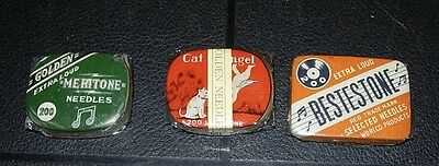 LOT 3 1920s PHONOGRAPH NEEDLE TINS FULL SEALED NOS EXCELLENT