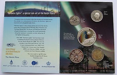 Northern Lights Coin Set + Silver Colored Medal Finland Sweden Norway Denmark