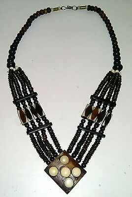 Lovely Vintage Ethnic African Carved Real Bone Bead Necklace