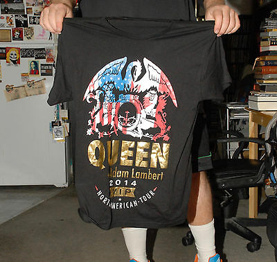 Queen 2014 Tour T Shirt Brian May Adam Lambert Near Mint+ Large No Tag