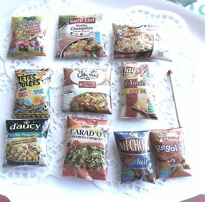 Sachets Aliments factices Lot Miniatures Maison Poupée Vitrine Doll House Food