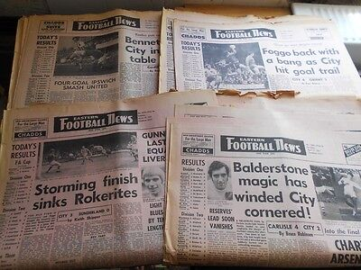 18 x Eastern Football News mags 1970-1971 Norwich City & other teams, vintage