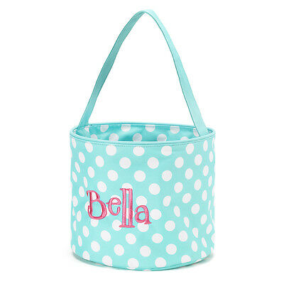 WB Easter Basket Blank Toy Bucket Aqua Blue with White Dots NWT