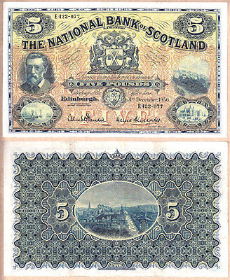 1956 £5 National Bank of Scotland issued note; Very Fine