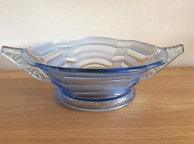 Stolle Nieman Large Art Deco Blue Clear & Frosted Pressed Glass Fruit Bowl.