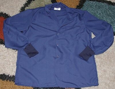 "Best Medical Staff L/S Lab Coat Snap 1 Pkt Knit Cuff 30"" Length Navy Size Medium"