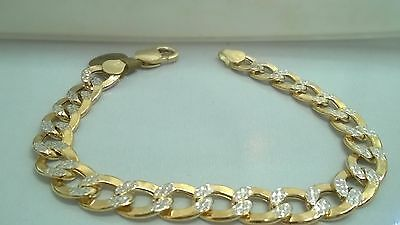 "10K Yellow Gold Cuban Link Bracelet 8.5"" Long w/Diamond Cut Design"