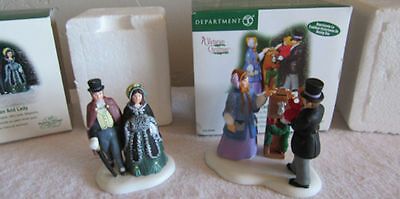Lot 2 Dept 56 Dickens Village Gentleman And Lady + Boxing Day Tradition Boxed
