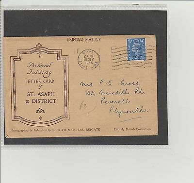 St Asaph & District Pictorial Folding Lettercard Postmark & Stamped Rhyll 1945