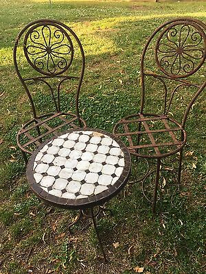 Old Cast Iron  Mosaic Garden Table And Chairs