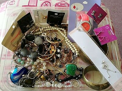 Job Lot Costume Jewellery 1kg BNWT or Good Condition Wearable, Resale,Bootsale