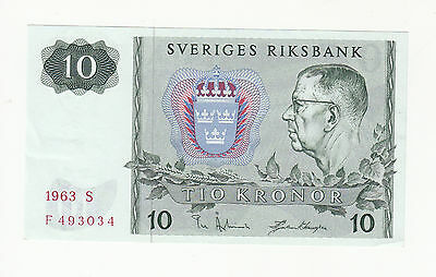 Sweden 10 kronor 1963 AUNC p52a @ low start