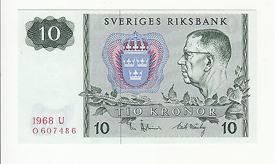 Sweden 10 kronor 1968 UNC p52b @ low start