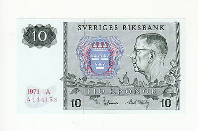Sweden 10 kronor 1971 UNC p52c @ low start