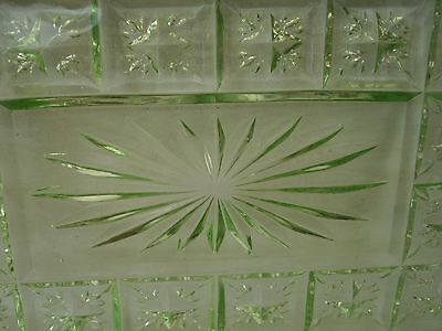 Art Deco Sowerby Green Pressed Glass Regtangle Dressing Table/vanity Tray 2501