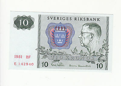 Sweden 10 kronor 1981 UNC p52e @ low start