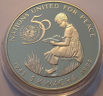 Malawi 5 kwacha 1995 United Nations 50th Anniversary Silver Proof