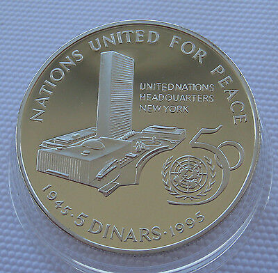 1995 Bahrain 5 Dinars 50 Year United Nations Silver Proof Coin