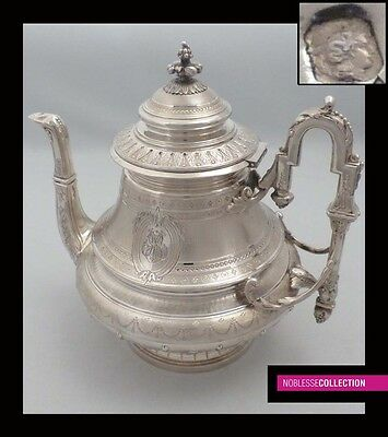 IMPRESSIVE ANTIQUE 1890s FRENCH STERLING SILVER TEA POT Napoleon III style 25 oz