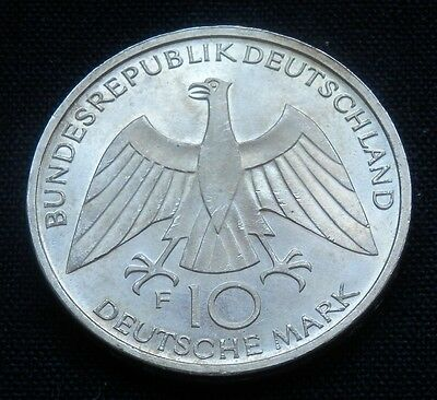 Germany, 10 Mark 1972-F Silver Coin, Munich Olympic Games, Unc-Bu, Km#131, Knot