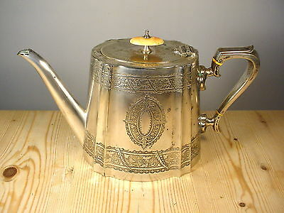 George Bowen & Son Silver Plate Engraved Presentation Teapot - Ford Hotel 1910