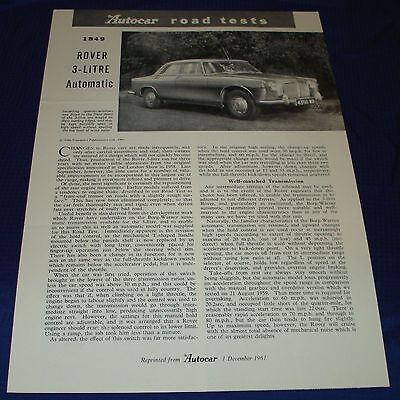 RF1391 1961 61 Rover Vtg The Autocar Road Test Report
