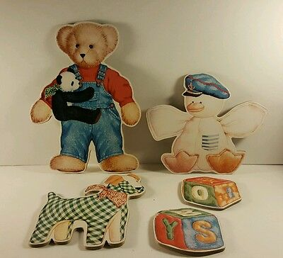 Wooden Animal Ornaments Wall Art Nursery Bear,  Dog,  Blocks,  duck T5