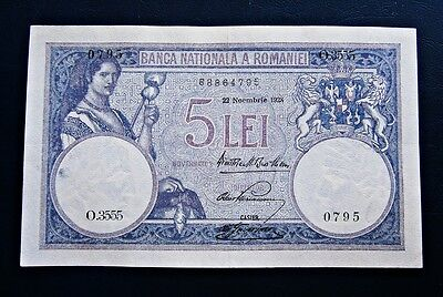 National Bank of Romania 5 lei 1928 Banknote 22 of November Superb!
