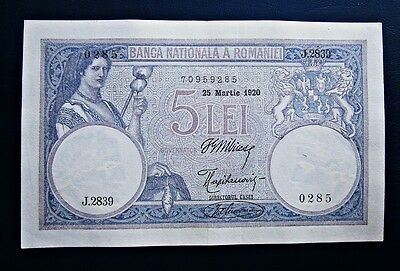 National Bank of Romania 5 lei 1920 Banknote 25th of March Superb!