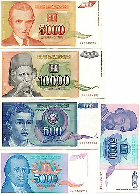 YUGOSLAVIA  -  5  great different   notes