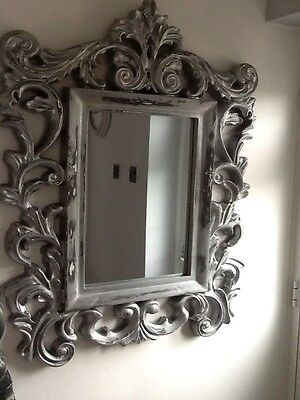 Next Very Large Mirror Rococo Distressed Silver Black White Baroque Style
