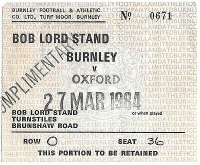 Football Ticket>BURNLEY v OXFORD UNITED Mar 1984