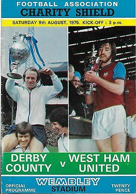 1975 FA CHARITY SHIELD PROGRAMME>DERBY COUNTY v WEST HAM UNITED