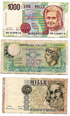 ITALY - 3   great different  notes    500 / 1,000 / 1,000  lire !!