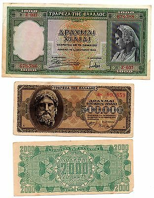 GREECE  - 3   great different  WWII era notes     1939/44  !!!