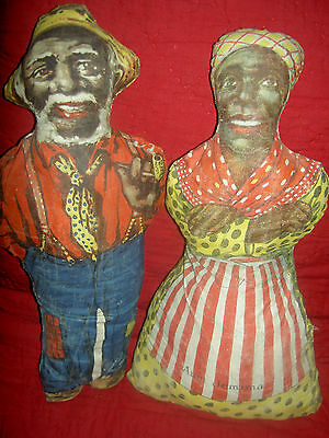 SET (2) Black Americana Aunt Jemima & Uncle Mose, very early cloth dolls