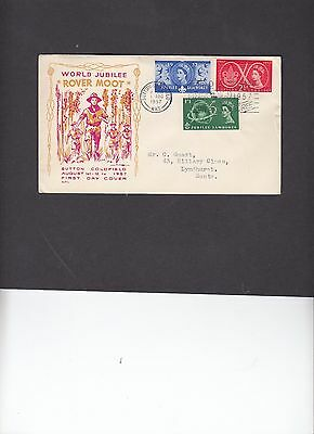 1957 Scouts unusual illustration First Day Cover Sutton Coldfield Scouts slogan