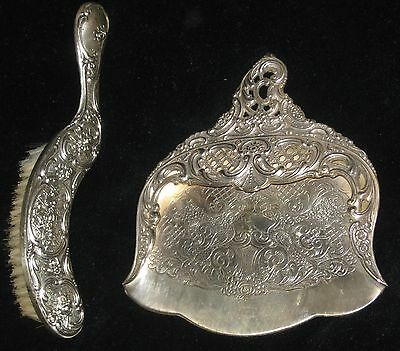 Vintage Silverplate Silent Butler Table Crumb Catcher Hand Brush Dust Pan Tray A