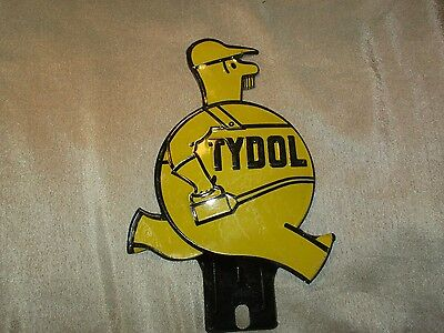 Vintage Yellow Tydol Oil Can Man License Plate Topper Metal Sign