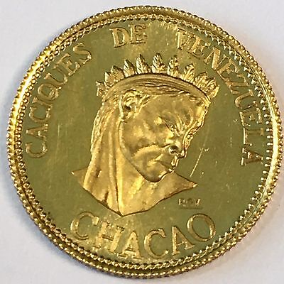1957 Venezuela 20 Bolivares Indian Kings Gold Coin - High Quality Scans #C923