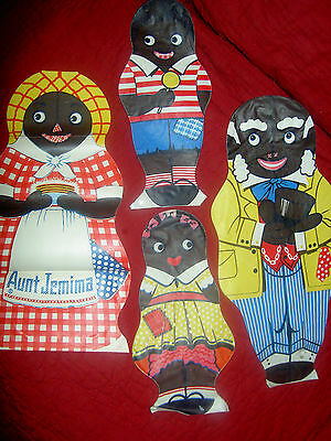 SET(4) Black Americana Aunt Jemima, Uncle Mose, Diana & Wade dolls, instructions