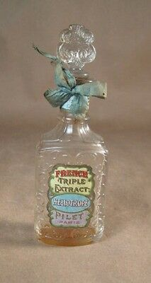 FRENCH Triple Extract Perfume BOTTLE  Heliotrope Pilet Paris