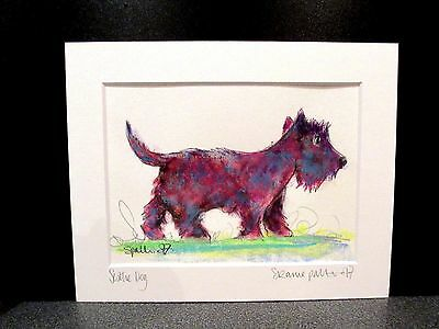 Scottie Dog. An original watercolour and pastel painting by Suzanne Patterson.
