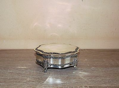 Super silver plated lidded red lined Trinket box with lion head feet