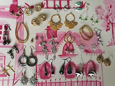 JOB LOT EARRINGS x 24 VINTAGE, NEW AND USED IN EXCELLENT CONDITION PIERCED EARS