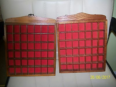 (A) 2 X  Hanging Wooden Thimbles Holders Display Cases Red Felt With 42 Sections
