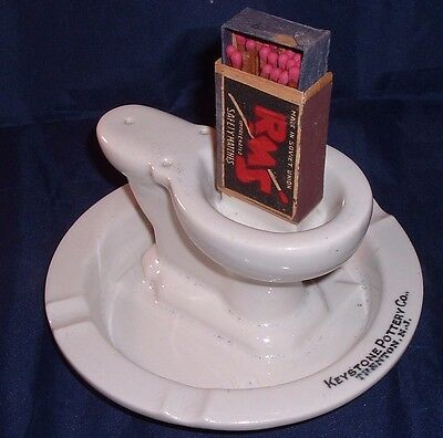 Antique KEYSTONE POTTERY ADVERTISING TOILET ASHTRAY & match holder TRENTON, NJ