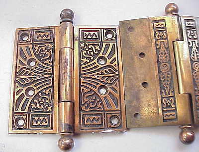 WONDERFUL Pair Fancy Antique Heavy Duty Bronze Plated Door Hinges