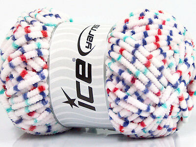 Lot of 4 x 100gr Skeins Ice Yarns CHENILLE WORSTED (100% Microfiber) Yarn Whi...