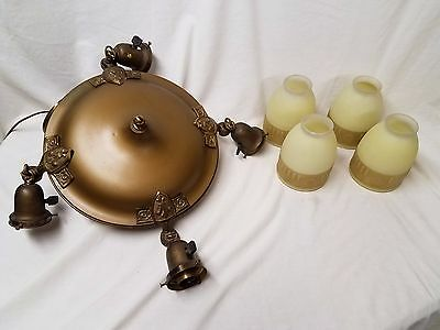Vintage Antique Bronze Ceiling Light Fixture With 4 Glass Globes Works !!